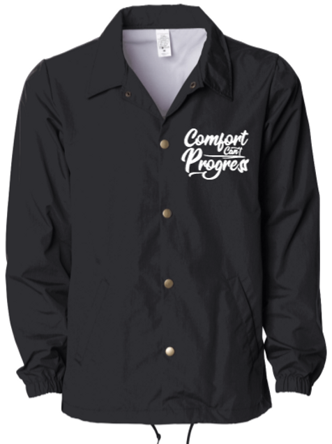 Black Comfort Can't Progress Coaches Jacket