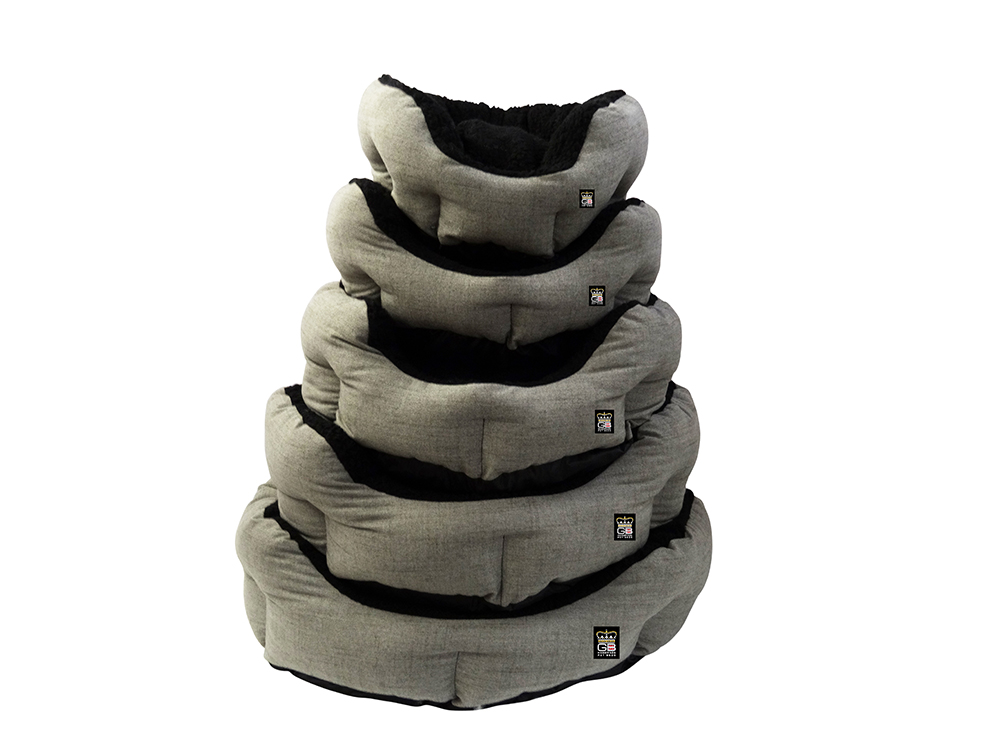 GB Pet Beds - Nest Oval blow filled baskets in mineral and black fleece