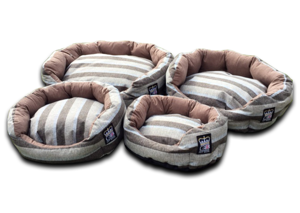 deluxe oval dog bed nutmeg stripe uk