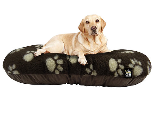 Oval Dog Cushion in Brown With Paw Print Various Sizes