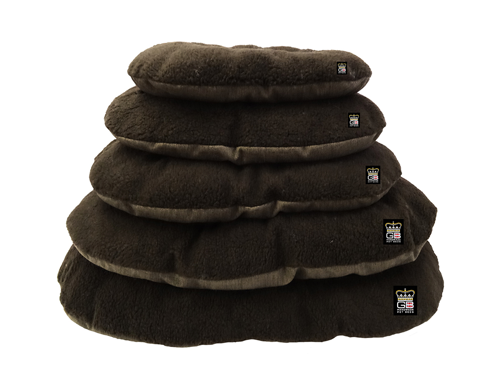 GB Pet Beds - Nest Oval cushions in truffel and dark brown fleece