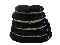 GB Pet Beds - Nest Oval cushions in mineral and black fleece