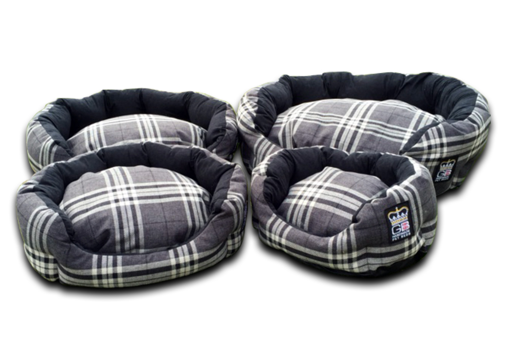 deluxe oval dog bed charcoal check uk