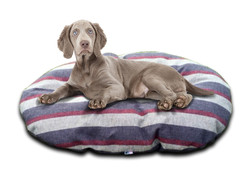 granite Stripe oval cushion with dog uk