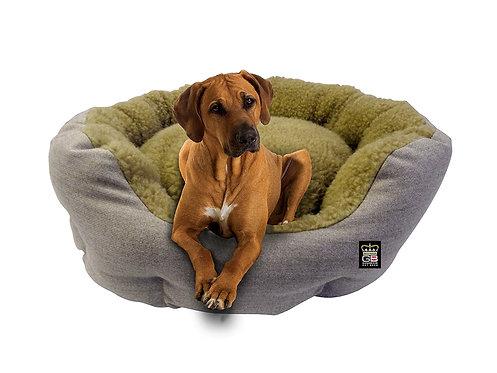 Deluxe Dog Basket in Oatmeal & Beige Fleece Various Sizes