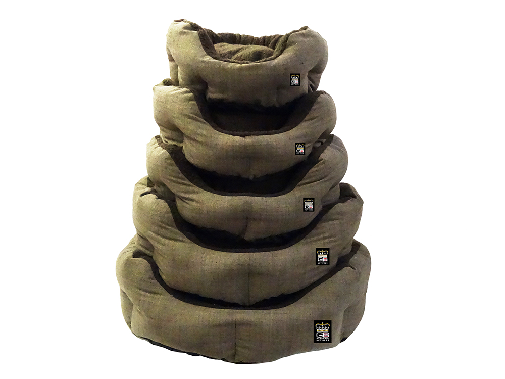 GB Pet Beds - Nest Oval blow filled baskets in truffle dark brown fleece