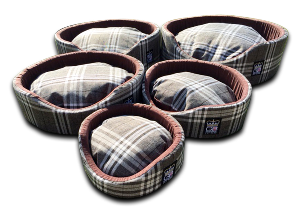 oval foam wall dog basket gb pet beds nutmeg check uk
