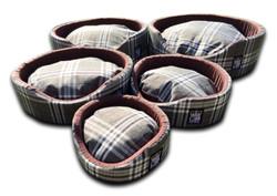 oval foam wall dog basket gb pet beds nutmeg check uk