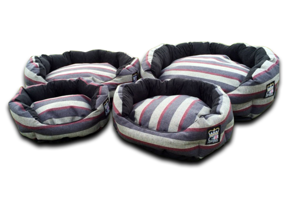 deluxe oval dog bed granite stripe uk