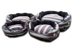 deluxe oval dog bed granite stripe uk