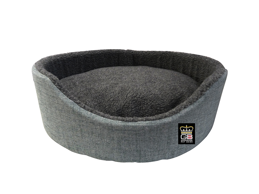 GB Pet Beds -Oval Foam Basket in Dawn - Grey Fleece