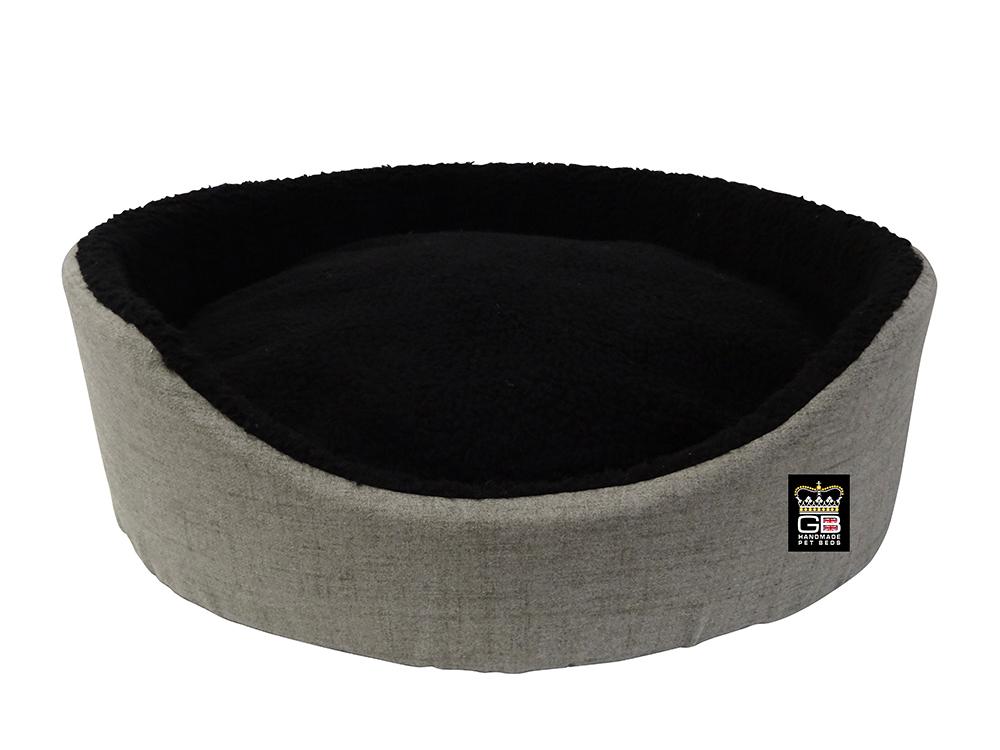 GB Pet Beds -Oval Foam Basket in mineral and black fleece