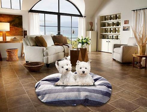 Oval Dog Cushion in Stripe Chatsworth Nutmeg Various Sizes
