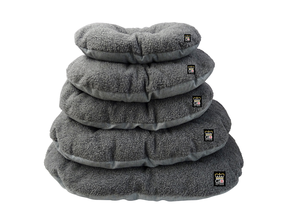 GB Pet Beds - Nest Oval cushions in dawn and grey fleece