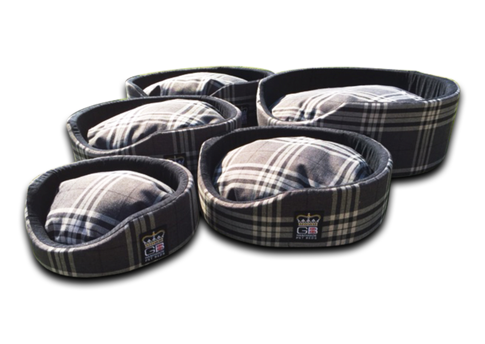 oval foam wall dog basket gb pet beds ncharcoal check uk
