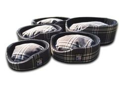 oval foam wall dog basket gb pet beds ncharcoal check uk