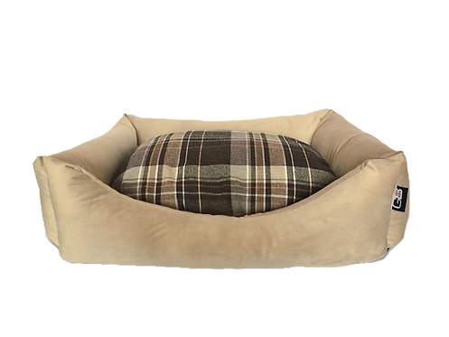 Wholesale Settee Fibre Filled Check and Velour Fabric