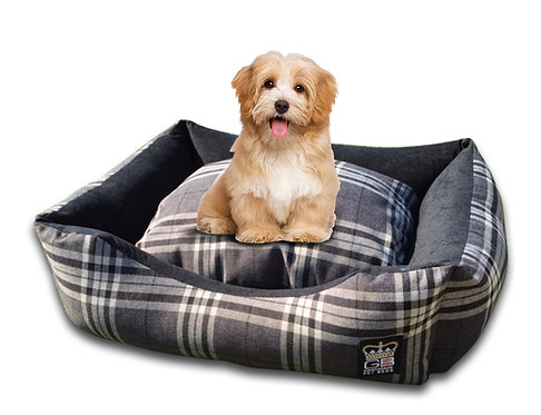 Classic Dog Settee in Check Various Sizes - Balmoral Charcoal