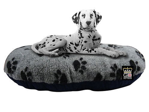 Oval Dog Cushion in Grey With Paw Print Various Sizes