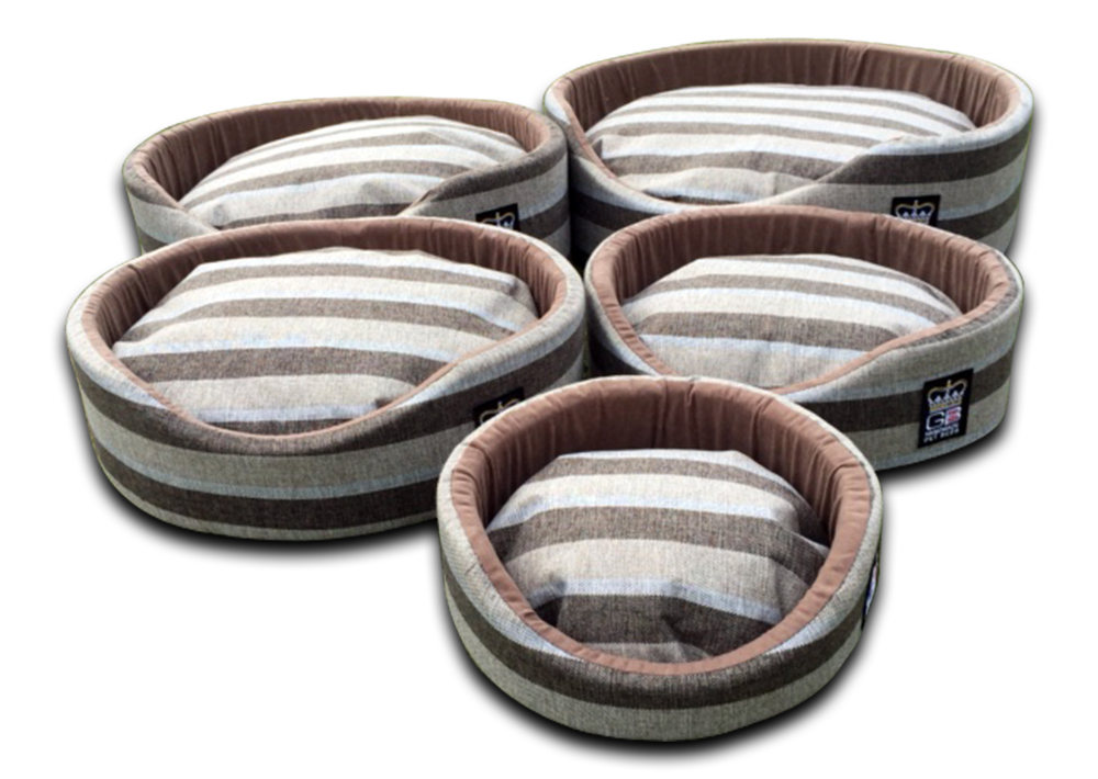 oval foam wall dog basket gb pet beds nutmeg stripe uk