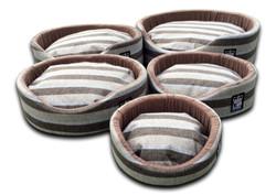 oval foam wall dog basket gb pet beds nutmeg stripe uk