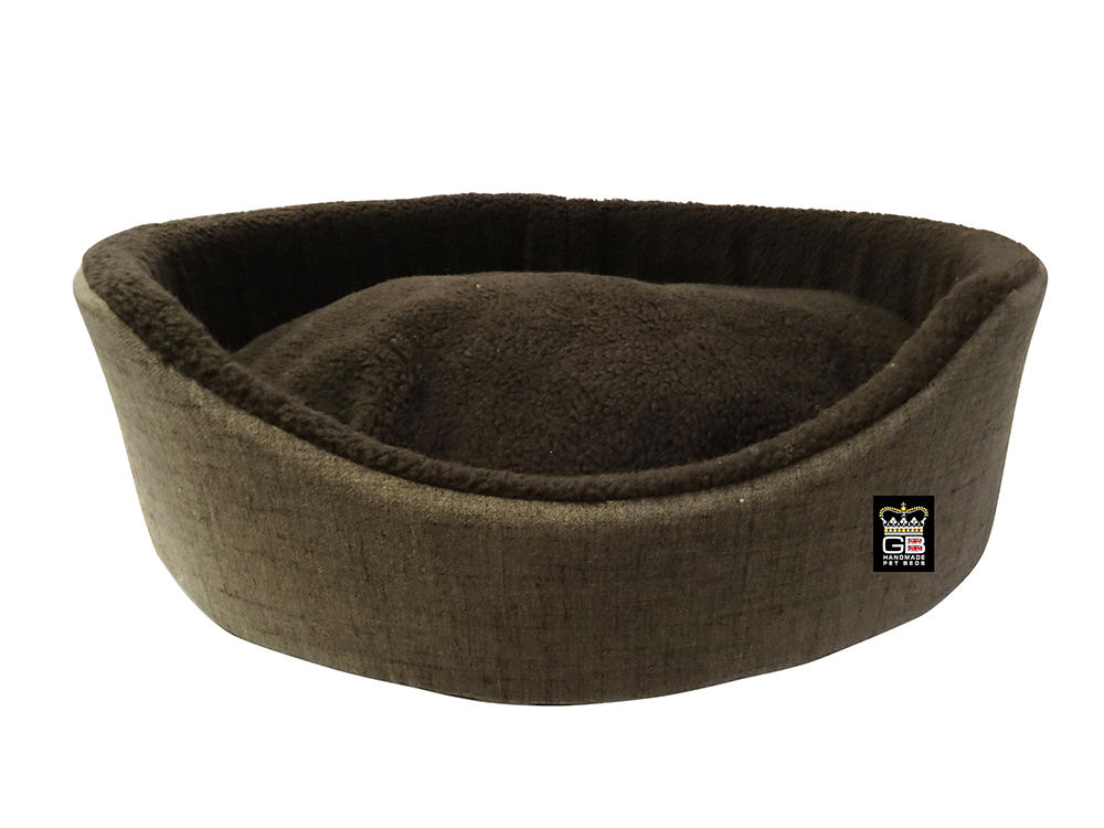 GB Pet Beds - Oval foam baskets in truffle dark brown fleece