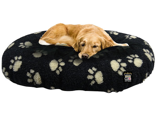 Oval Dog Cushion in Black With Paw Print Various Sizes