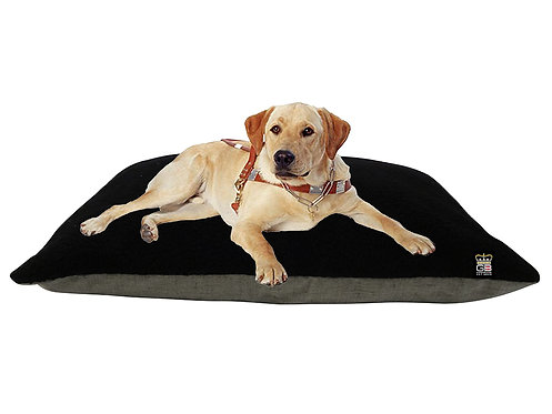 Dog Cushion Beds in Mineral & Black Fleece Various Sizes