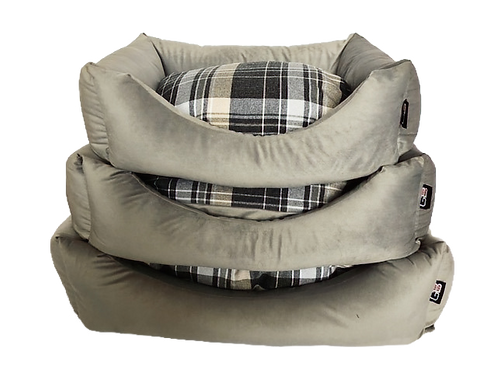 Wholesale Settee Fibre Filled Check and Velour Fabric - Nest