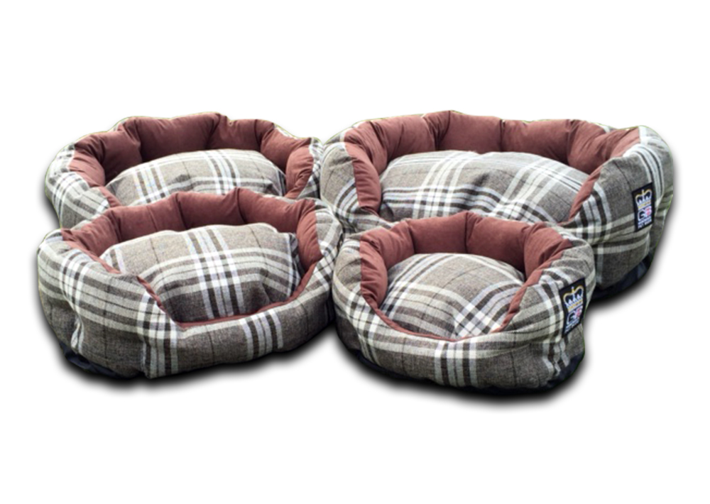 deluxe oval dog bed nutmeg check uk