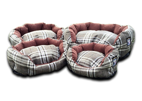 Deluxe Dog Basket Classic Check Various Sizes - Chatsworth Nutmeg