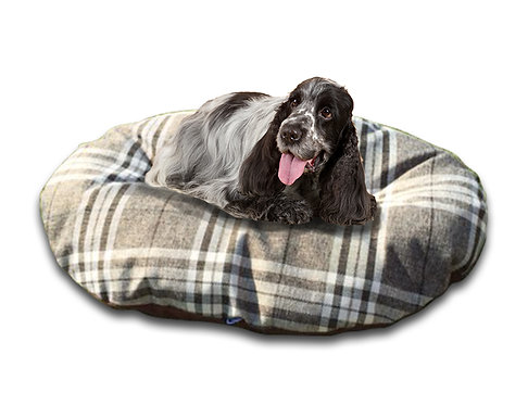 Oval Dog Cushion in Classic Check Chatsworth Nutmeg