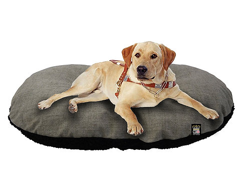 Oval Dog Cushion in Mineral & Black Fleece Various Sizes