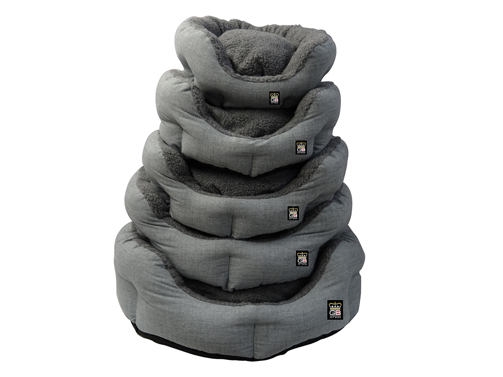 GB Pet Beds - Nest Oval blow filled baskets in dawn and grey fleece