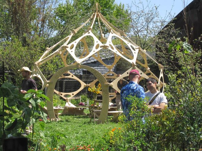Zome pavilion at the Algarden