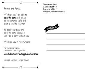 Save The Date Post Card (back)