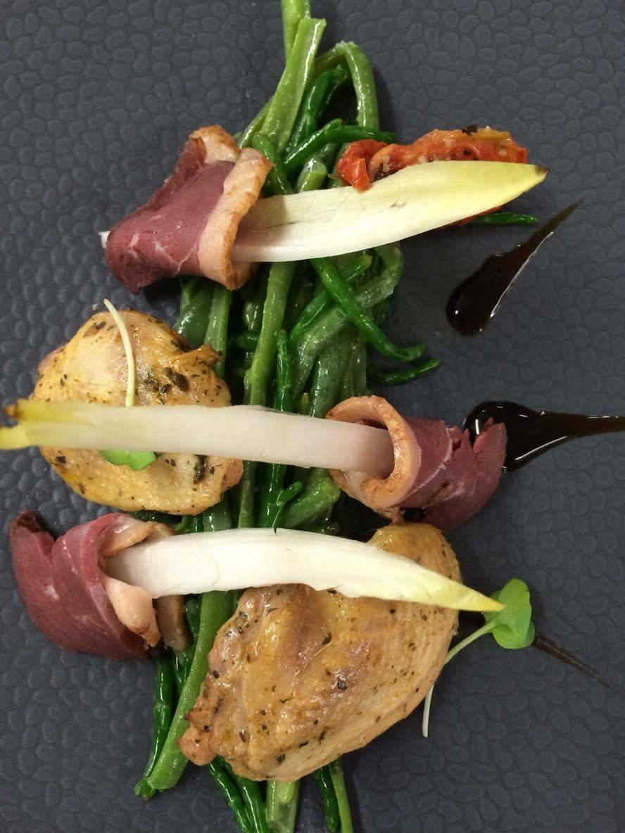 Filet de caille mariné, magret de canard