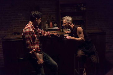 Timothy McCown Reynolds as Elie & Jorge Cordova as Bronco in BONEDIVE SCROUNGER by Fred Backus Directed by Maggie Cino
