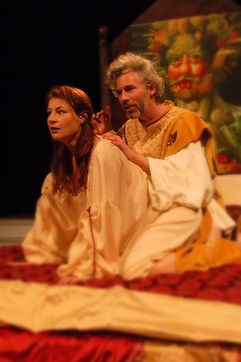 Timothy McCown Reynolds as Holy Roma Emperor Rudolf II with Yvonne Roen as Katerina in RUDOLF II by Edward Einhorn, Directed by Henry Akona