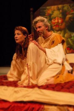 Timothy McCown Reynolds as Holy Roma Emperor Rudolf II with Yvonne Roen as Katerina in RUDOLF II by Edward Einhorn, Directed by Henry Akona