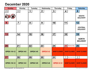 December 2020 Customer Holiday Schedule.