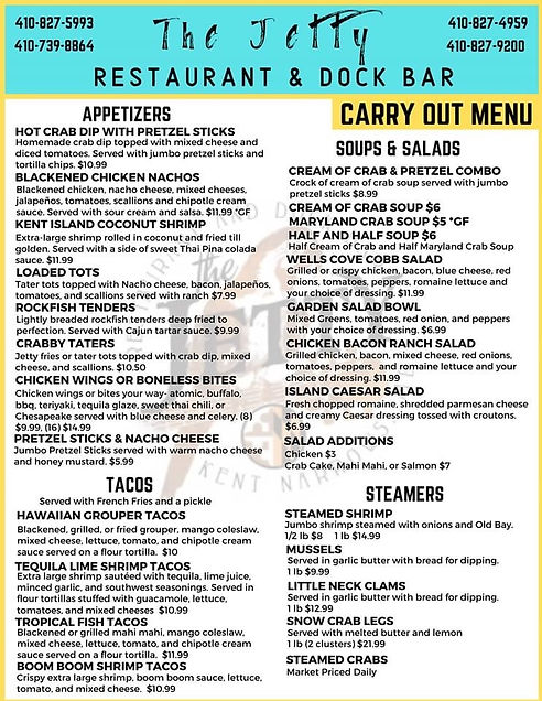 THE JETTY RESTAURANT & DOCK BAR CARRY OUT MENU