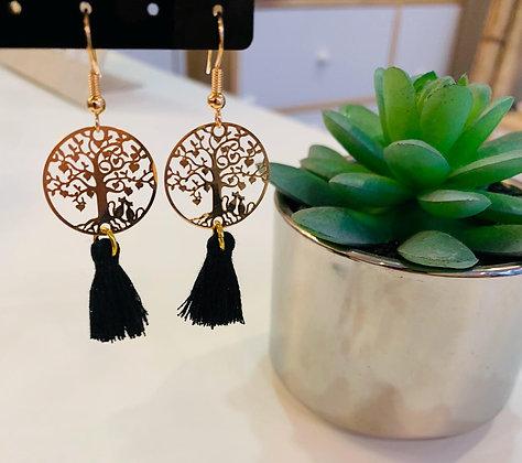 Boucle d'oreilles dorée/noire arbre de vie
