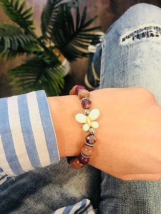 Bracelet bois taupe/gris/violet papillon