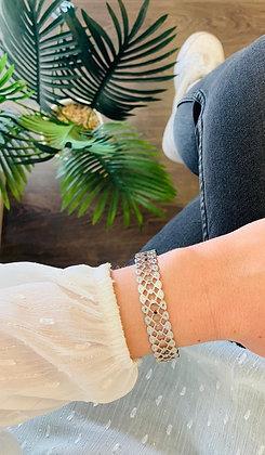 Bracelet jonc acier argenté large dentelle