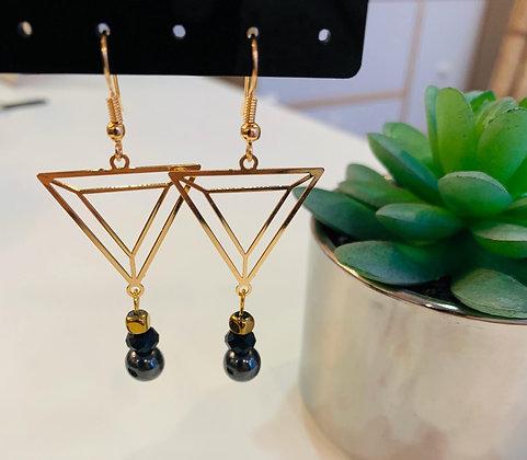 Boucle d'oreilles dorée/noire triangle