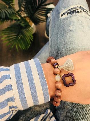 Bracelet bois taupe/gris/violet trèfle