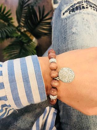 Bracelet bois taupe/gris médaille