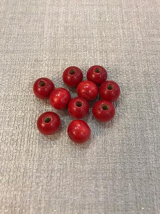Perles en bois rouge