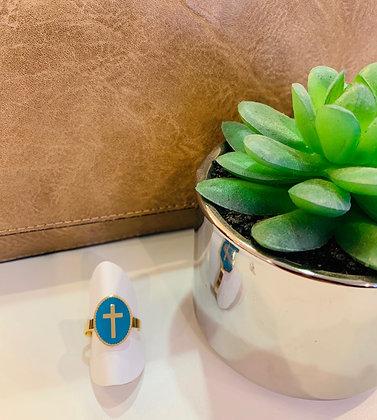 Bague croix acier doré et turquoise